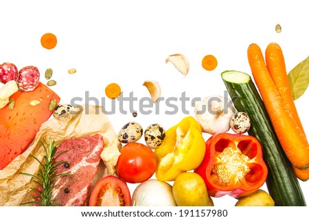 Composition of fresh ingredients, suitable as a frame. Food frame. Illustration concept. Horizontal frame
