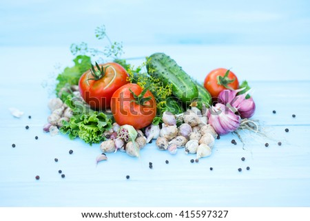Composition of fresh vegetables tomato and cucumber on a blue wooden background.