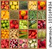 Composition of fruits and vegetables framed in wood - stock photo