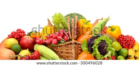composition of fruits and vegetables in basket on white - stock photo