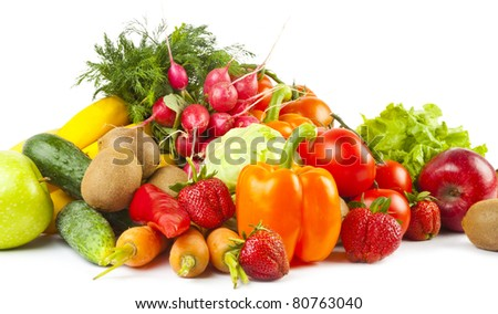 Composition of fruits and vegetables on white background - stock photo
