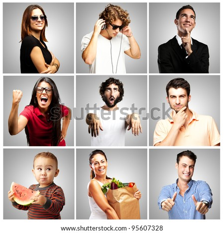 composition of funny people over grey background - stock photo