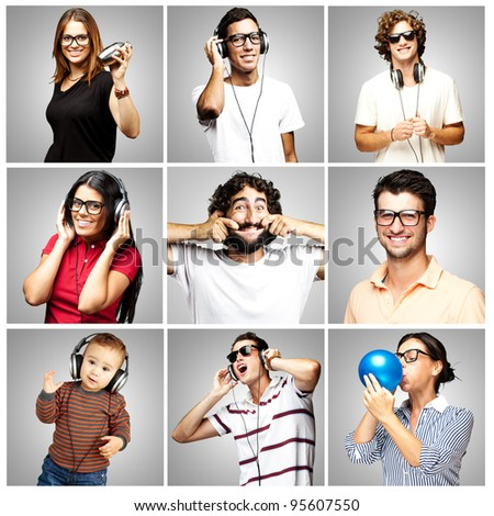 composition of funny people over grey background