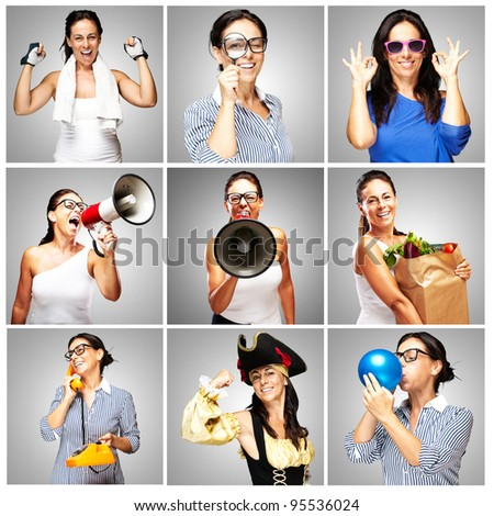 composition of funny woman over grey background - stock photo