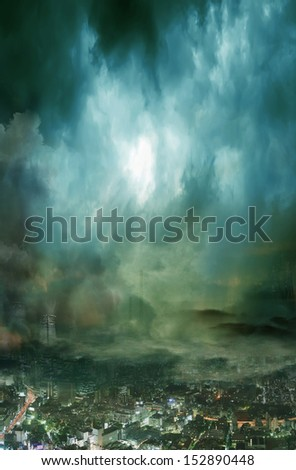 Composition of futuristic city covered in dark clouds and smog pollution  - stock photo