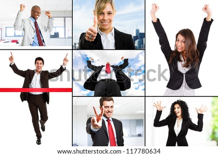 Composition of happy business people - stock photo