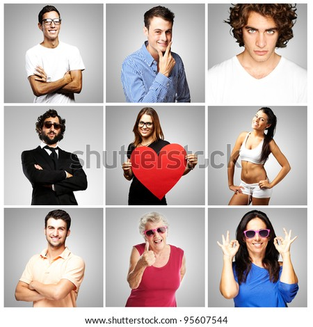 composition of happy people over grey background