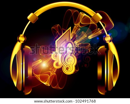 Composition of headphones, musical notes, abstract design elements, colors and lights as a concept metaphor for music, sound,  audiophile, performance, song, party and entertainment