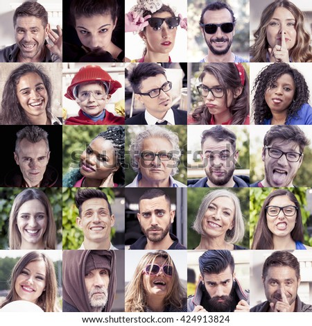 composition of human faces with funny expressions on a vintage color filtered look - stock photo