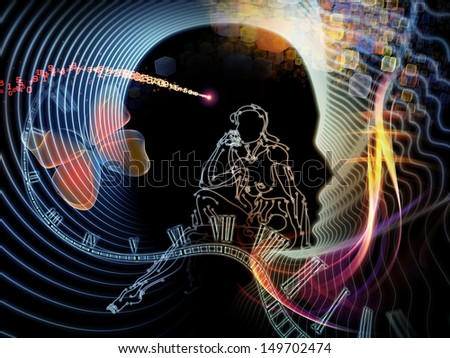Composition of  human feature lines and symbolic elements to serve as a supporting backdrop for projects on human mind, consciousness, imagination, science and creativity - stock photo