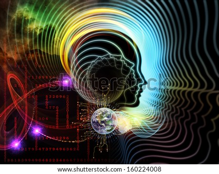 Composition of human feature lines and symbolic elements with metaphorical relationship to human mind, consciousness, imagination, science and creativity - stock photo