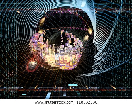 Composition of human head and fractal grids on the subject of intelligent design, science and technology - stock photo