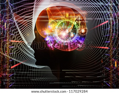 Composition of human head and fractal grids on the subject of science, technology and intelligent life in the Universe - stock photo