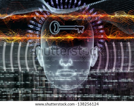 Composition of human head, key symbol and fractal design elements on the subject of encryption, security, digital communications, science and technology - stock photo