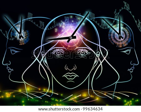 Composition of human head outline, clock elements  as a concept metaphor for time and technology related issues - stock photo