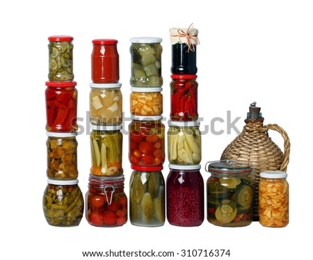 composition of jars on white - stock photo