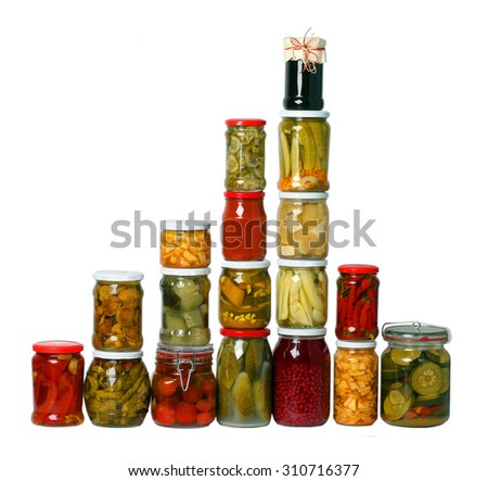 composition of jars on white