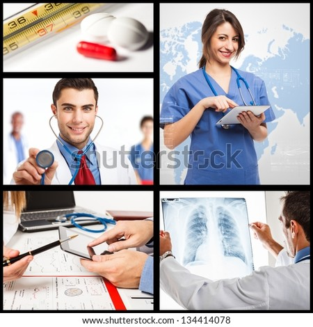 Composition of medical workers - stock photo