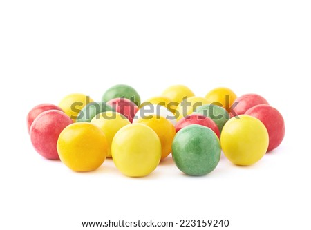 Composition of multiple chewing gum balls isolated over the white background, side view foreshortenings - stock photo