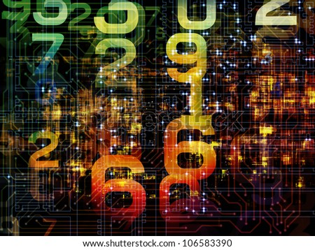 Composition of numbers on the subject of modern computing, digital worlds and information processing
