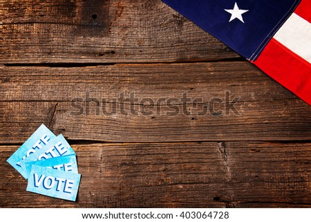 Composition of objects related to presidential election in USA - stock photo