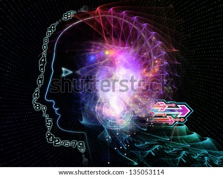 Composition of outline of human head and symbolic elements on the subject of knowledge, science, technology and education