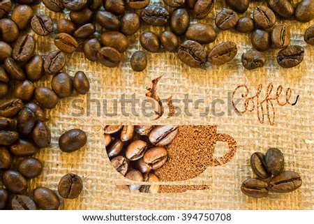 Composition of painted coffee cup and inscription coffee on the background of a sacking and roasted coffee beans - stock photo