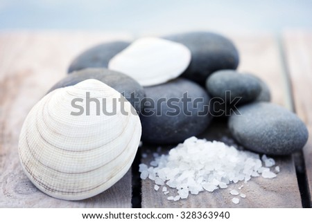 Composition of pebbles and shells on wooden background
