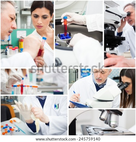 Composition of people at work in a medical lab - stock photo