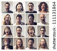 Composition of people screaming - stock photo