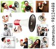 composition of people shouting with megaphone - stock photo
