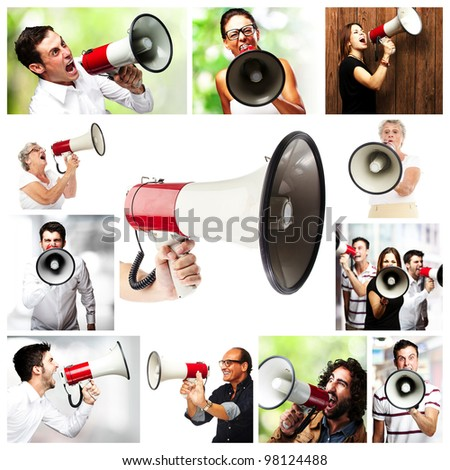 composition of people shouting with megaphone