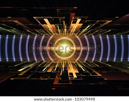 Composition of perspective fractal grids, lights, mathematical wave and sine patterns with metaphorical relationship to modern technologies, energy, signal processing, music and entertainment