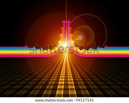 Composition of perspective lines and arrows on the subject of progress and advancement - stock photo