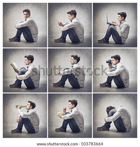 Composition of portraits of the same young man doing different things - stock photo