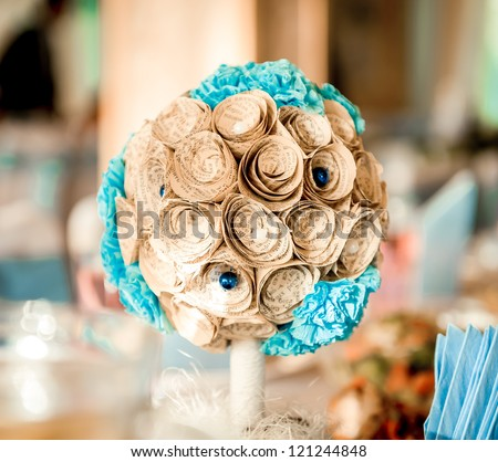 Composition of pretty paper flowers - stock photo