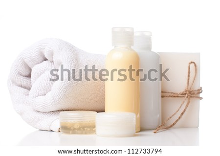 Composition of products for spa, body care and hygiene on a white background - stock photo