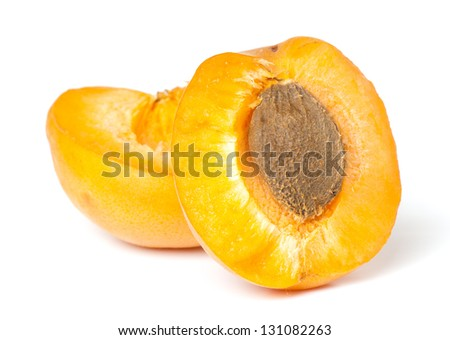 composition of ripe juicy apricots isolated on white background