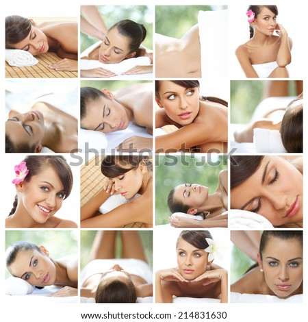 Composition of sexy natural young woman during spa treatment