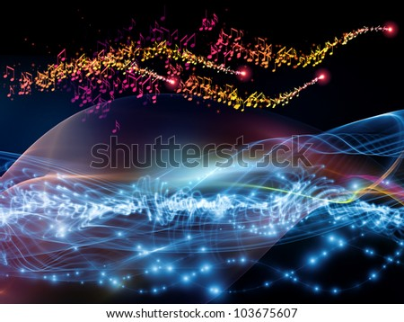 Composition of sine waves, musical notes, lights and abstract design elements as a concept metaphor for music, sound, entertainment, data visualization  and modern technologies
