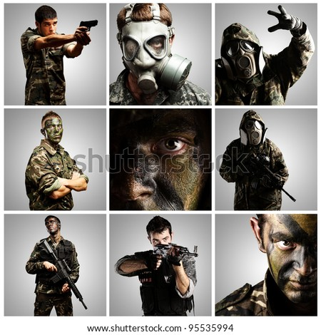 composition of soldiers over grey background - stock photo