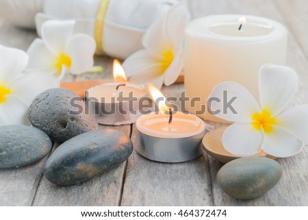 Composition of spa treatment on table background