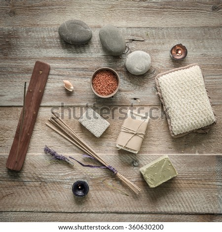 Composition of spa treatment on the wooden table. Top view - stock photo