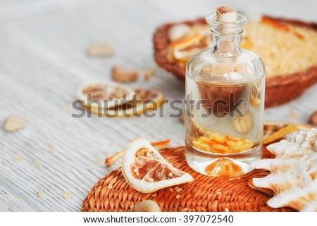 Composition of spa treatment on wooden background.   - stock photo