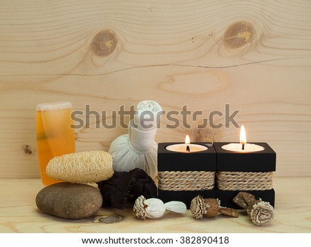 Composition of spa , treatment , Placed on a wooden table.