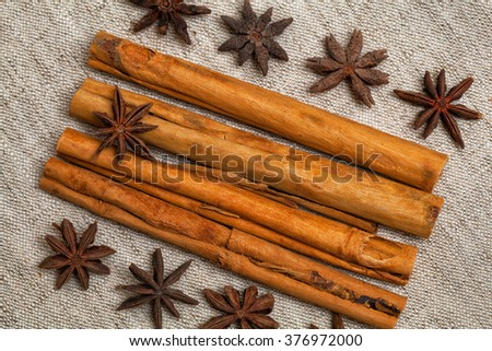 composition of spices - cinnamon sticks and star anise - stock photo