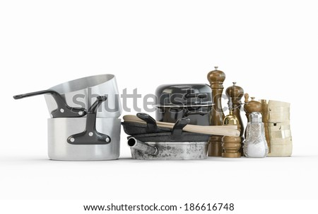 Composition of Stainless steel pots and pans isolated on white background - stock photo