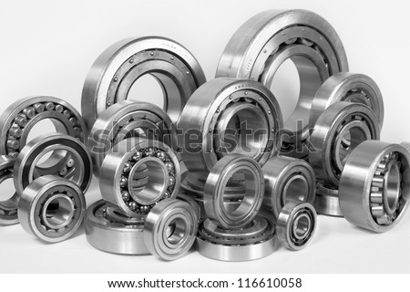 Composition of steel ball bearings in closeup - stock photo