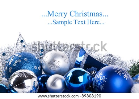 composition of the blue christmas balls and star isolated on a white background