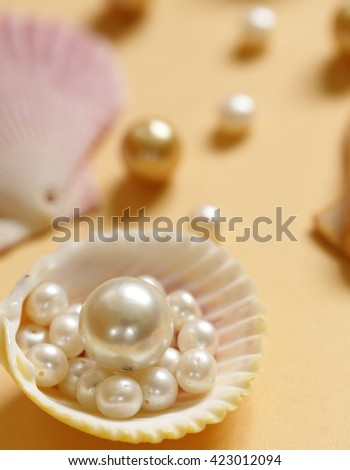 composition of the different types of pearls and shells - stock photo